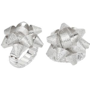 Silver Sparkly Textured Holiday Bow Stretch Ring